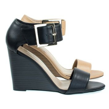 Carey05 High Heel Wedge Sandal w Faux Stacked Wood & Large Buckle