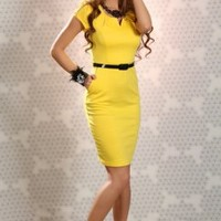 YELLOW PLEATED NOTCH COLLAR CAP SLEEVES POCKETS SEXY BELTED MINI DRESS @ Amiclubwear sexy dresses,sexy dress,prom dress,summer dress,spring dress,prom gowns,teens dresses,sexy party wear,women's cocktail dresses,ball dresses,sun dresses,trendy dresses,swe