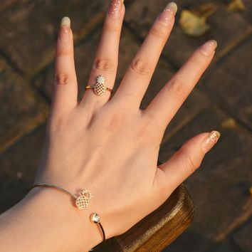 A Set of Pineapple Jewelry Shiny Accessory Stylish Strong Character Lovely Ring Bangle [8655034887]