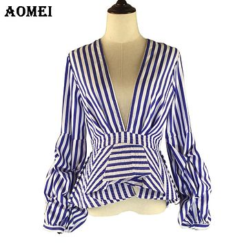 Puff Sleeve Blue White Stripe Blouse Shirts Ruffles Trim Women Sexy V Neck Summer Fashion New Tops Clothing Blusas Plus Size 4XL