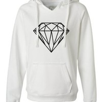 Small White Womens Diamond Deluxe Soft Hoodie