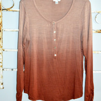 JULE Ombre Top Size Medium Made in USA Henley