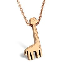 Dear Deer Stainless Rose Tone Giraffe Necklace Pendant Necklace