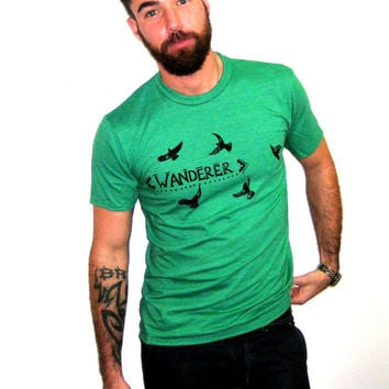 Men's Green 'Wanderer Crows' Screen Printed Tshirt, ScreenPrint, Graphic Tshirt, Surf Kelly Green, Eco Fashion, Blackbirds Crow Raven Bird