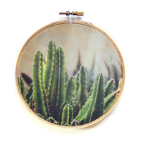 Cactus Photograph Fabric Hoop Art / 5 inch hoop / Southwestern Decor / Textile Hanging Art / Embroidery Hoop Wall Decor / Western Green