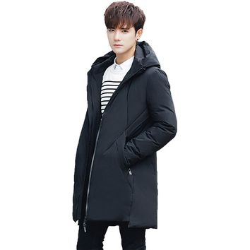 2017 Men's Wear Winter New Pattern Down Jackets Keep Warm Thickening Student Male Long Fund Even Hat Loose Coat Free shipping