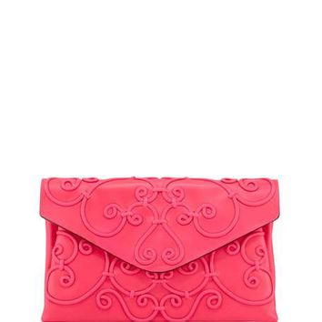 Valentino Intricate Large Scroll Envelope Clutch Bag, Fuchsia