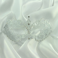 Beautiful Artisan White Metal Filigree Laser Cut Masquerade Mask Wedding