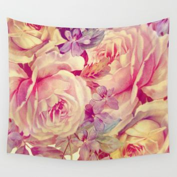 soft vintage roses Wall Tapestry by clemm