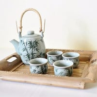 Bamboo Celadon China Tea Set