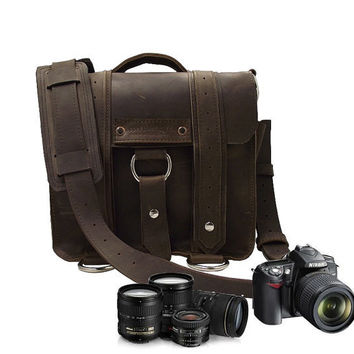 Safari Camera / iPad Bag Brown Thick Full by CopperRiverBags