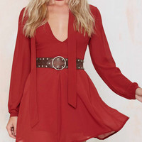 Red V-Neck Long Sleeve Skater Dress with Belt