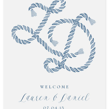 Nautical Rope Monogram Welcome Sign