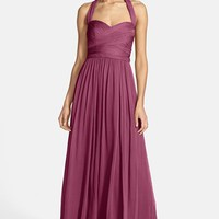 ML Monique Lhuillier Bridesmaids Crinkled Silk Chiffon Halter