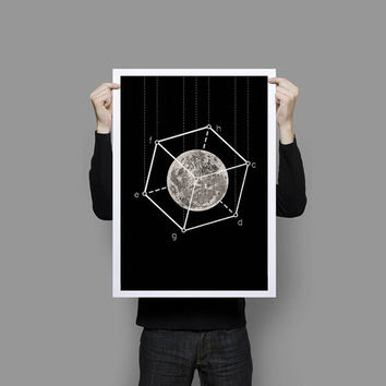 Poster Full Moon in the box Geometric Art Print Black and White