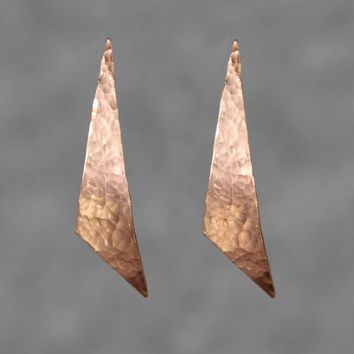 Copper textured hammered minimal abstract triangle Earrings Bridesmaid gifts Free US Shipping handmade Anni designs