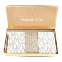 Michael Kors Vanilla Monogram Gold Glitter Center Stripe Large Travel Wallet