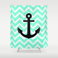 Tiffany Chevron Anchor Shower Curtain by RexLambo