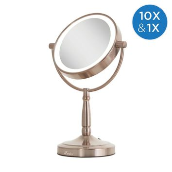 Zadro Cordless Dual-Sided LED Lighted Vanity Mirror 10X/1X, Rose Gold