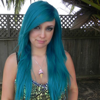 HAPPY HOLIDAYS SALE / Teal Blue Green / Long Straight Layered Wig