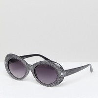 AJ Morgan Cat Eye Sunglasses In Black Glitter at asos.com