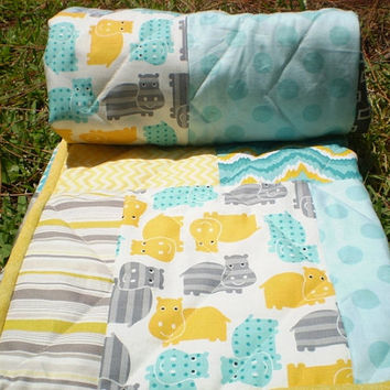 Baby quilt,Teal,grey yellow patchwork,Crib quilt,teal grey yellow,woodland,rustic,baby boy bedding,baby girl blanket,crib bedding,hippos