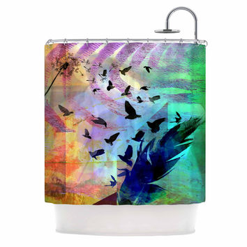 "AlyZen Moonshadow ""NOT QUITE BIRDS OF A FEATHER"" Green Multicolor Shower Curtain"