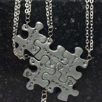 Personalized Puzzle Pieces Set of 5 Interlocking Key Chains or Necklaces Polymer Clay Jewelry