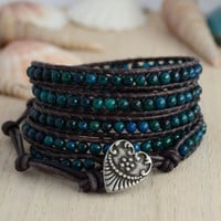 Dark blue green bracelet. Five wrap bohemian chic bracelet.