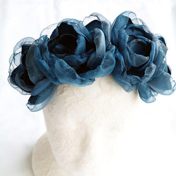 Blue Flower Hair Crown, Navy Blue Headband, Large Flower Statement Headpiece, Floral Headdress, Girls Fascinator, Blue Flowers Hair Wreath