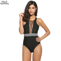 2017 Sexy One Piece Swimsuit Women Black Mesh Bodysuit High Waist Swimwear Summer Swimming Monokini Bathing Suit Women Plus Size
