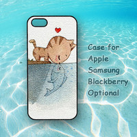 Cat kiss Fish for iphone 5 case, iphone 4 case, ipod 4, ipod 5 , Samsung note 2, Samsung galaxy S3, Samsung galaxy S4, blackberry z10, q10