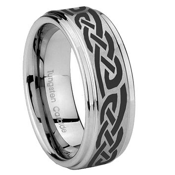 8mm Celtic Knot Infinity Love Step Edges Brushed Tungsten Carbide Mens Anniversary Ring