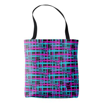 Monogram Retro Abstract Weave Tote Bag