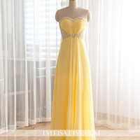 Yellow Chiffon A-line Long Prom Dresses, Evening Dresses, Prom Dresses 2014, Yellow Prom Dresses, Formal Dresses