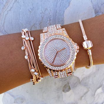 Sparkling Rose Watch & Bracelet Set