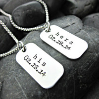 Hers and His Personalized Couple's Mini Dog Tag Necklaces