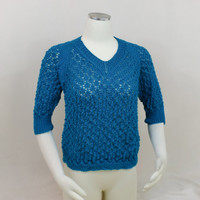 Turquoise Lace Top, Blue Raglan Sweater, 3/4 Sleeve V Neck Raglan Shirt
