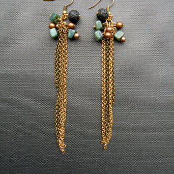 Long tassel chain earrings // Dangles fringe earrings // Gold and Brass chain // Copper Black & Turqoise // Tribal festival jewelry