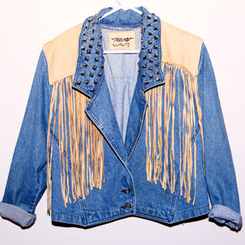 Denim Studded Custom Jacket Small Fringe Western Leather Women's by Moon Shine Apparel