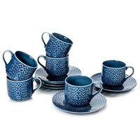 Classic Coffee & Tea Clover Leaf Teacups and Saucers in Blue (Set of 6)