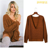 Sexy Deep V Neck Knitting Sweater