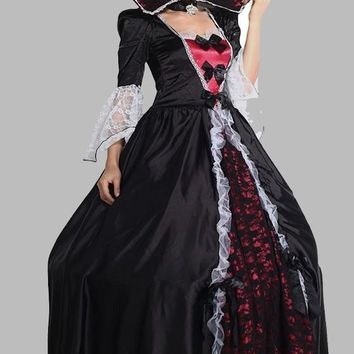 New Black Patchwork Lace Halloween Costume Gothic Witch Ball Gown Costumes Petticoat Vampire Maxi Dress