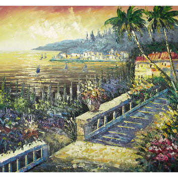 Beach House at Sunset Canvas Wall Art