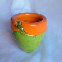 Retro Hand Blown Glass Art  Vase in Vivid Orange and Green.  Signed by artist.