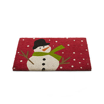 Snow day holiday snowman doormat from crate and barrel for Best doormat for snow