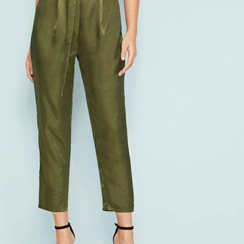D-ring Belted Satin Pants