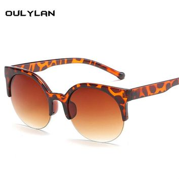 Oulylan Cat Eye Sunglasses Women Brand Vintage Luxury Round Sun Glasses Men Half Frame Glasses Shades for Ladies
