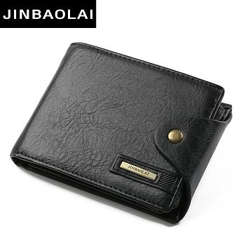 New Designer High Quality PU Leather Wallet Men ID Card Holder Button Coin Purses Pockets Card Holders Wallet For Men