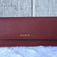 NEW-AU Michael Kors Jet Set Flat Saffiano Leather Wallet BRICK GOLD $128+